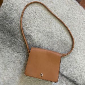 Tan crossbody saddle bag